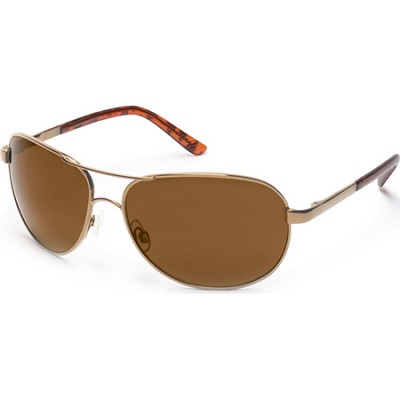 BuyDig.com - Suncloud Aviator Sunglasses Gold Frame/Brown ...