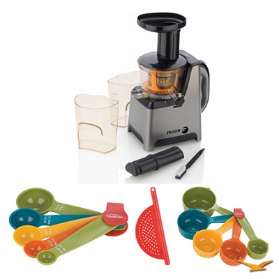 BuyDig.com - Fagor Platino Slow Juicer, Cutting Board, and Measuring Sets Bundle