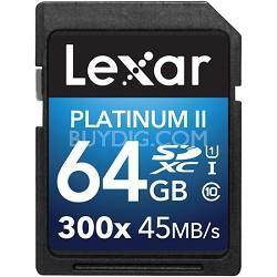 Platinum II 300x SDXC 64GB UHS-I/U1 Flash Memory Card - 2 Pack