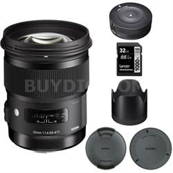 50mm f/1.4 DG HSM Lens for Canon EF Cameras - 693956 with USB Dock Bundle