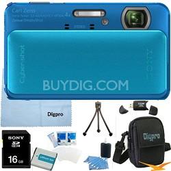 Cyber-shot DSC-TX20 16.2 MP Waterproof Shockproof Camera (Blue) 16GB Bundle
