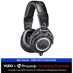 ATH-M50X Professional Headphones + $30 VUDU Credit + 3 Months of Rhapsody Black