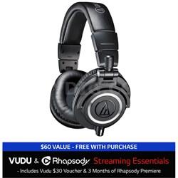 ATH-M50X Professional Headphones + $30 VUDU Credit + 3 Months of Rhapsody Black