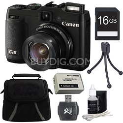 PowerShot G16 12.1 MP Digital Camera 16GB Kit