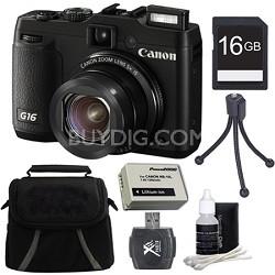 PowerShot G16 12.1 MP Digital Camera 16GB Kit