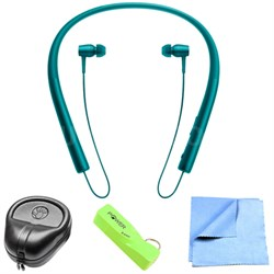 Wireless In-ear Bluetooth Headphones w/ NFC - Viridian Blue w/ Power Bank Bundle