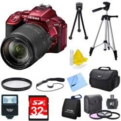 D5500 Red DSLR Camera 18-140mm Lens Filter & Flash Deluxe Bundle