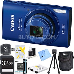 PowerShot ELPH 170 IS 20MP 12x Opt Zoom Digital Camera - Blue 32 GB Bundle