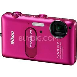 COOLPIX S1200pj Pink 14MP Digital Camera w/ Projector