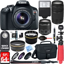 EOS Rebel T6 DSLR Camera w/ EF-S 18-55mm & 75-300mm IS II Lens 64GB Memory Kit
