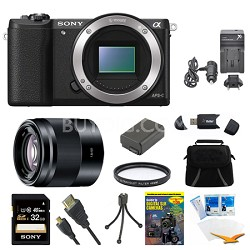 a5100 Mirrorless Camera 32GB 50mm f/1.8 Mid-Range Prime Lens Black Bundle