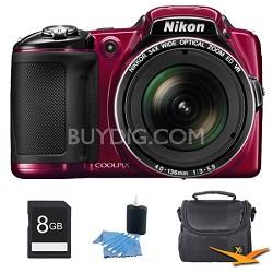 COOLPIX L830 16MP 34x Opt Zoom Digital Camera Red Kit