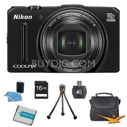 COOLPIX S9700 16MP HD 1080p 30x Opt Zoom Digital Camera Black Kit Refurbished