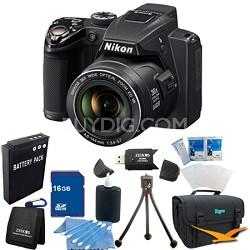Coolpix P500 12MP Black Digital Camera 16GB Bundle