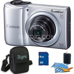 PowerShot A810 16MP Silver Digital Camera 4GB Bundle