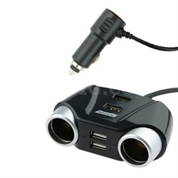 AVT8-1001-BLK Black 12V Car Charger with 2 DC and 4 USB Ports