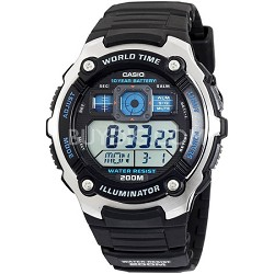 Men's AE2000W-1AV Silver-Tone and Black Multi-Functional Digital Sport Watch