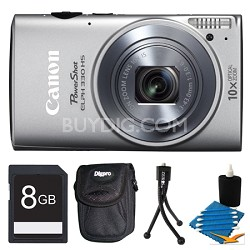 Powershot ELPH 330 HS Silver Digital Camera 8GB Bundle