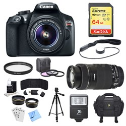 EOS Rebel T6 DSLR Camera with 18-55mm, 55-250nmm Lenses and Accessory Bundle