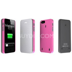 Ecopak iPhone 5 Case -Snap-on Case and Detachable Battery (Silver/Pink)