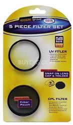 58mm Circular Polarizer Filter Bonus Kit - with UV, Pouch, Lens Cap, Cap Keeper