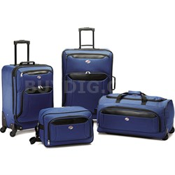 """Brookfield Navy 4 Pc Luggage Set (21"""" & 25"""" Spinners, Boarding, Wheeled Duffle)"""
