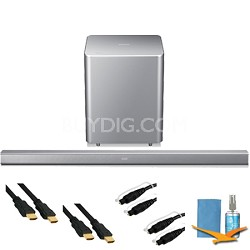 2.1ch Wireless Audio Soundbar Plus Hook-Up Bundle (Silver) - HW-H551