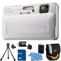 Cyber-shot DSC-TX10 Silver Digital Camera 8GB Bundle