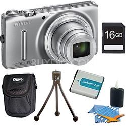 COOLPIX S9500 18.1 MP 22x Zoom Wi-Fi Digital Camera Silver Plus 16GB Kit