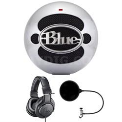 Snowball USB Microphone Aluminum w/ Headphone Bundle