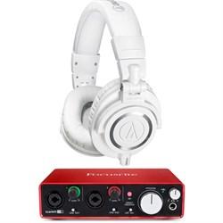 ATH-M50X Professional Studio Headphones (White) w/ USB Audio Interface Bundle