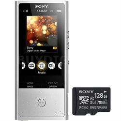 128GB High-Resolution Digital Music Player Silver w/ Sony 128GB Memory Card