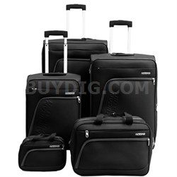 """Glider 5Pc Spinner Luggage Set 28"""", 24"""", 20"""", Boarding & Toiletry Bag - Black"""