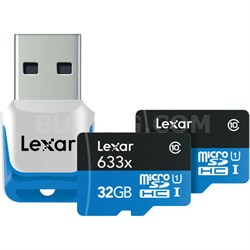 32 GB High-Performance 633x microSDHC/SDXC UHS-I 2-Pack - LSDMI32GBNL633R2