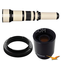 650-1300mm F8.0-F16.0 Zoom Lens for Nikon with 2x Multiplier (White Body) - 650Z