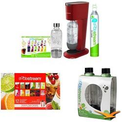 GENESIS Home Soda Maker - Premium Kit w/ 24 Samples & 2 Bonus Bottles (Red)