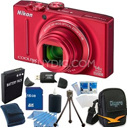 COOLPIX S8200 Red 14x Zoom 16MP Digital Camera 16GB Bundle