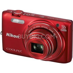 COOLPIX S6800 16MP 1080p HD Video Digital Camera - Red - Factory Refurbished