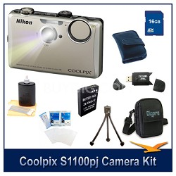 COOLPIX S1100pj Silver Digital Camera Kit w/ 16 GB Memory, Reader, Batt, & More