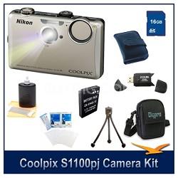 COOLPIX S1100pj Silver Digital Camera Kit w/ 16 GB Memory, Reader, Batt, & More
