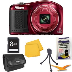 COOLPIX L620 18.1 MP CMOS 14x Zoom 1080p HD Red Digital Camera Kit