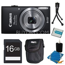 Powershot ELPH 115 IS Black Digital Camera 16GB Bundle