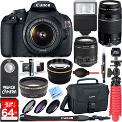 EOS Rebel T5 Digital SLR Camera w/ EF-S 18-55mm IS + EF 75-300mm Ultimate Kit