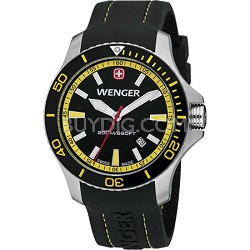 Men's Sea Force Swiss Watch - Black and Yellow Dial/Black Silicone Bracelet