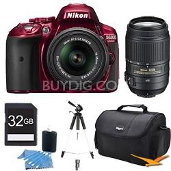 D5300 DX-Format Digital SLR Kit (Red) w/ 18-55mm DX & 55-300mm VR Lens Bundle