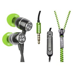 FRESH Noise-Isolating Metal Earbuds with 3-Button Mic/Remote (Green)