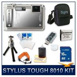 Stylus Tough 8010 Waterproof Shockproof Digital Camera (Silver) w/ 16 GB Memory