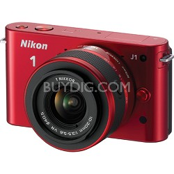 1 J1 Mirrorless Digital Camera w/ 10-30mm VR Lens (Red) Factory Refurbished
