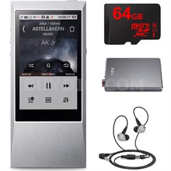 AK Jr. Hi-Res 64GB Music Player w/ In-Ear Headphone + Amplifier + 64gb Bundle