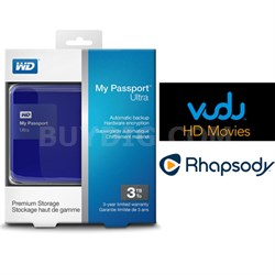 My Passport Ultra 3 TB Portable External HD Blue + $30 Vudu & 3 Months Rhapsody